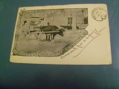 1906 Postcard Horseless Carriage Oxmobile N.S. B225
