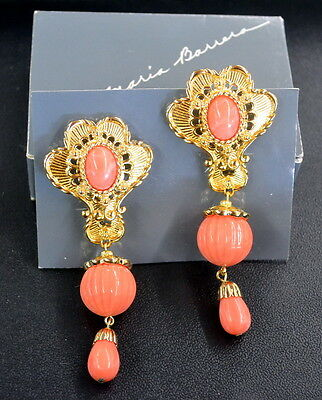 AVON Jose Maria Barrera Gold & Simulated Coral American Style Earrings SIGNED