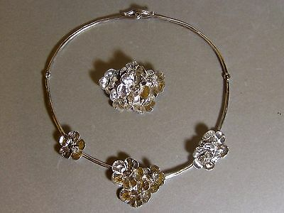 Vintage 950 TC Solid Silver Mexican Chunky Flowers Necklace & Brooch Set