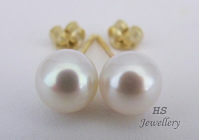 HS Japanese Akoya Cultured Pearl 8mm Stud Earrings 14K Yellow/White Gold Top