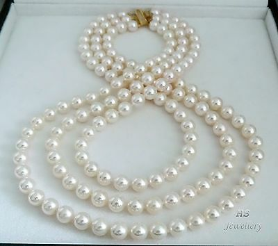 HS Triple-3-Strand 8mm Japanese Akoya Cultured Pearl Necklace 14KYG Top Grading