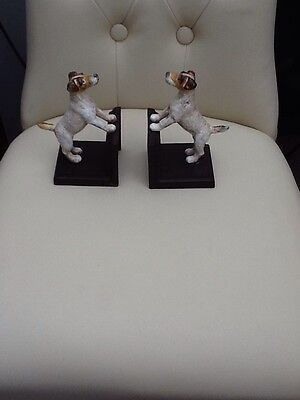 •Cast Iron Pair of Fox Terrier Dog Bookends.