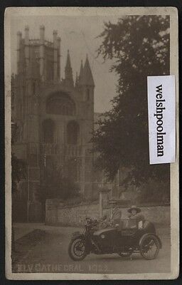 Vintage 1922  Lady & Gent In Motorcycle & Sidecar Outside Ely Cathedral Postcard