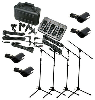 Peavey Pvm Dms-5 Drum 5 Piece Recording Mic Package & (4) Microphone Boom Stands