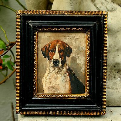Excellent Late C19th Victorian English School Oil Miniature of a Foxhound