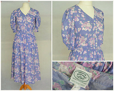 Vintage Retro Laura Ashley Lilac Cotton Floral 40s Style Dress 10 Small