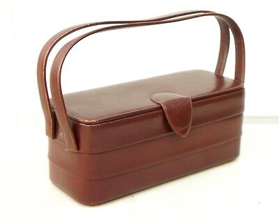 Vintage 1950's Murray Kruger Pleated Brown Leather Box Purse w/original Mirror