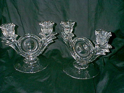 Vintage Pair Of Glass Imperial?fancy  Candle Holders