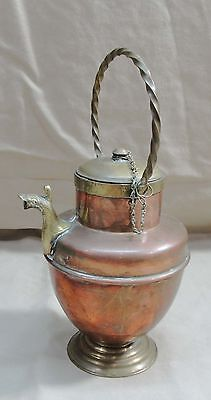 Antique Copper Turkish Tibetan ? Hammered Teapot Snake Spout Lid & Chain Kettle