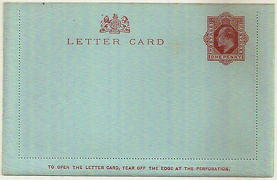 GB EDWARD VII 1d POSTAL STATIONERY LETTER CARD MINT UNUSED