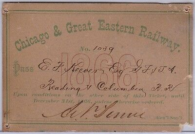 1866 Chicago & Great Eastern Railway Pass - Issued to RR Engineer