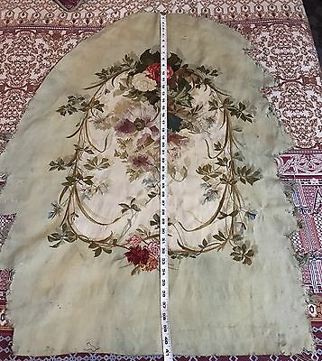 Antique 18C Aubusson French Hand Woven Silk Tapestry Panel Chair Cover