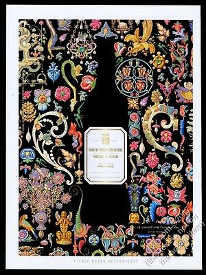 2010 Chateau Pichon Longueville wine color illuminations art vintage print ad