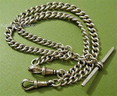 Vintage Hallmarked Solid Silver Fob Pocket Watch Graduated Double Albert Chain