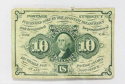 Ten Cent (10c) Fractional Currency First Issue 1862 Postage Currency Washington