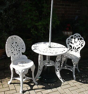 Patio Table and Chairs Set 2 Seater Bistro Garden Furniture and brolly  NE137LD