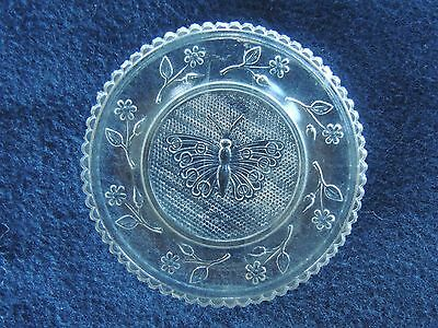 "Antique Lacy Sandwich Glass Cup Plate Butterfly Flowers 3.25"" original"