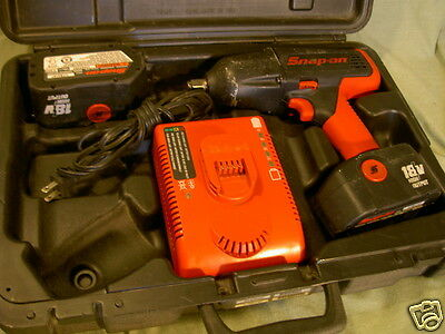 "Snap On CTC7850 Cordless 1/2"" Impact Wrench 18V case charger & 2 batteries Used"