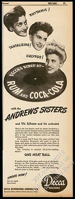 1945 The Andrews Sisters photo Rum and Coca-Cola record release vintage print ad