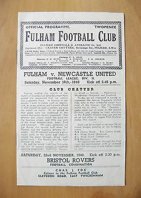 FULHAM v NEWCASTLE UNITED 1946/1947 *Good Condition Football Programme*