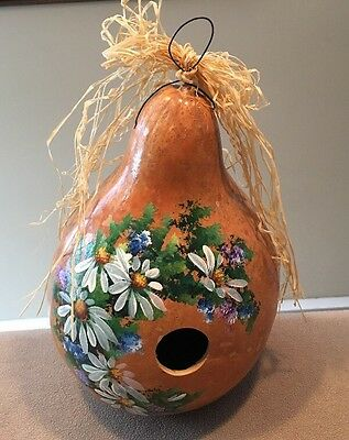 """Karen Styons Birdhouse Hand Painted Gourd 7x7x12""""H  ~Pretty As Can Be!!"""