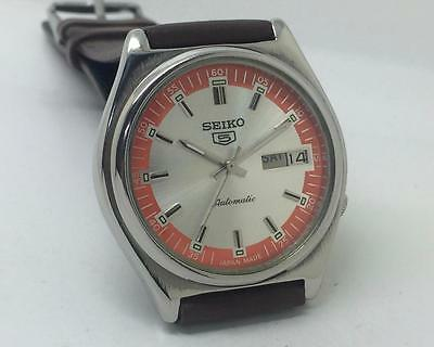 Seiko 5 Automatic 7019-8180 Day-Date White Dial Excellent Vintage Wrist Watch
