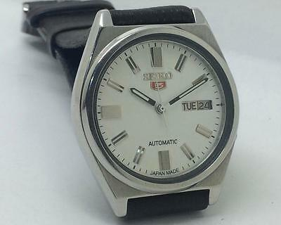 Rare Seiko 7009-3160 Automatic Day-Date White Dial Excellent Men Wrist Watch