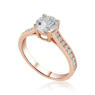 1 Ct D/SI1 Round Cut Diamond Solitaire Engagement Ring 14K Rose Gold Enhanced