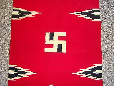 "Antique  Early 1900s Native American Chimayo Whirling/Swastika Log Rug 85"" x 34"""
