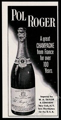 1951 Pol Roger champagne 1937 bottle photo vintage print ad