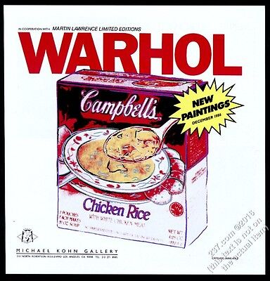 1986 Andy Warhol Campbell's Chicken Rice Soup art NYC gallery vintage print ad