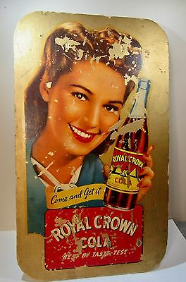 1936 Royal Crown Cola Vintage Advertising Store Sign Counter Window Stand Up OLD