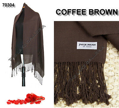 Plain Color Coffee Brown 100% Real Pashmina Cashmere Wool Shawl Wrap Scarf New