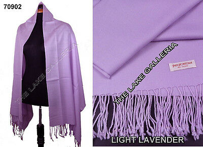 Plain Color Light Lavender 100% Real Pashmina Cashmere Wool Shawl Wrap Scarf New