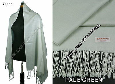 Plain Color Pale Green 100% Real Pashmina Cashmere Wool Shawl Wrap Scarf New