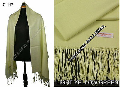 Plain Color Light Yellow Green 100% Real Pashmina Cashmere Wool Shawl Wrap Scarf