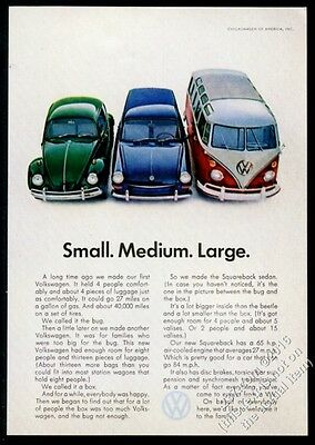 1967 VW Volkswagen green Beetle blue Squareback red Bus color photo 7x5 print ad