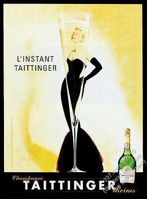 1998 Grace Kelly portrait in glass Taittinger Champagne vintage print ad