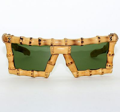 Vintage A. Sutain Mid Century Tiki Bamboo Space Age Mask Sunglasses Excellent