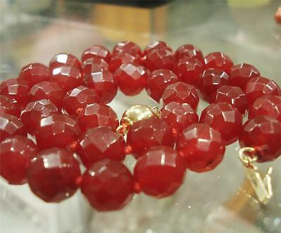 Natural elegant  10mm Red Ruby Faceted Round Beads Necklace 18""