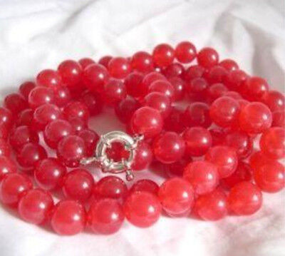 "New Genuine 35"" 8mm Red Ruby Round Beads Gemstone Necklace AAA"