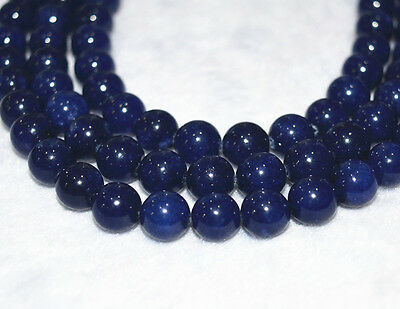 "NATURAL Charming 8mm Sri Lanka Deep Sapphire Round Loose Gemstone Beads 15""A"