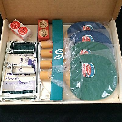 VINTAGE  Sportcraft 4 player table tennis ping pong Set ORIGINAL BOX PADDLES LOT