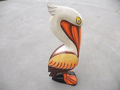 "12"" Pelican Finely Painted Hand Carved Wood Tropical Sculpture Bird Decor"
