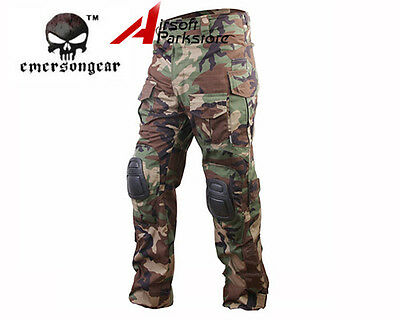 EMERSON G3 Tactical Combat Training Pants with Knee Pads Woodland S/M/L/XL/XXL