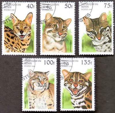 BENIN (24/1) 1996 Wild Cats Animals 5 Diff. Stamps ! Gift Your Children !