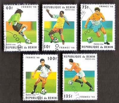 BENIN (25/1) 1996 World Cup Footballs Sports 5 Diff. Stamps ! Gift Children !