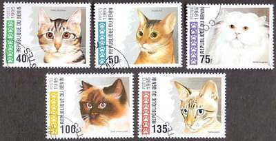 BENIN (02/1) 1995 Cats Domestic Animals 5 Diff. Stamps ! Gift Your Children !