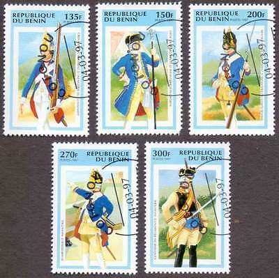 BENIN (27/1) 1997 Costume Soldiers Military Arms 5 Diff Stamps! Gift Children !