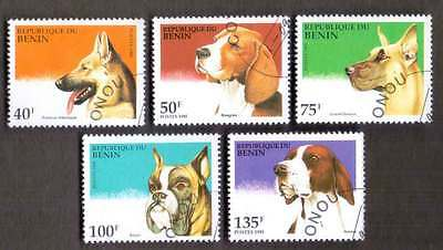 BENIN (04/1) 1995 Dogs Domestic Animals 5 Diff. Stamps ! Gift Your Children !